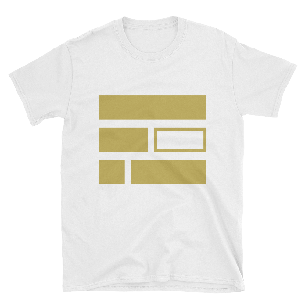 """E""quality (Gold) Short-Sleeve Unisex White T-Shirt - in + out apparel"