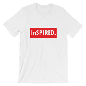"""InSPIRED"" Short-Sleeve Unisex White T-Shirt - in + out apparel"