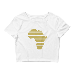 """Africa: (Gold) Women's Crop White Tee - in + out apparel"