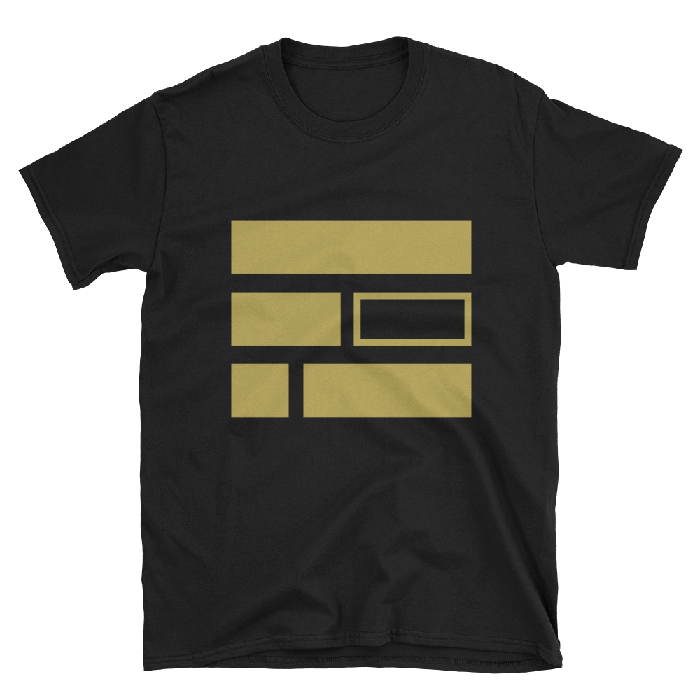 """E""quality (Gold) Short-Sleeve Unisex Black T-Shirt - in + out apparel"