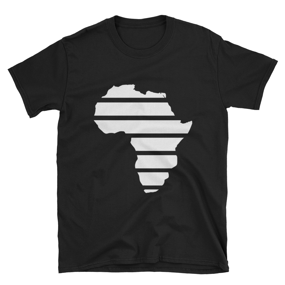"""Africa"" (White) Short-Sleeve Unisex Black T-Shirt - in + out apparel"