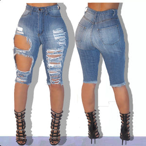 New Sexy Skinny Denim Shorts High Waist Destroyed Slim Jeans Shorts