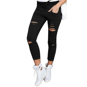 Skinny for Hole Vintage Girls Slim Ripped Denim Pencil Pants