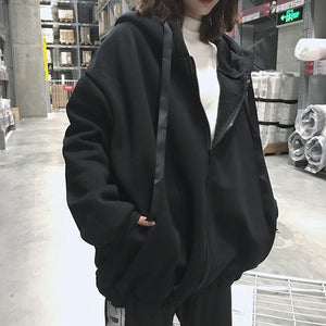 Oversized Zipper Loose Hooded Coat