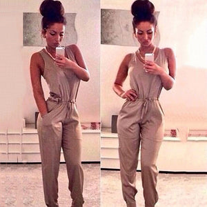 Night Club Bandage Sleeveless Formal Cotton Solid Jumpsuit