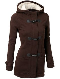 Hooded Coat Zipper Horn Button Outwear Jacket