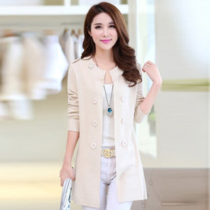 Casual Warm Long Design Female Knitted Coat Cardigan Sweater