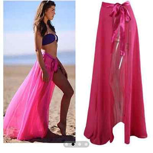 Sexy Women Chiffon Beach Bow Asymmetrical Solid High Waist Long Skirt