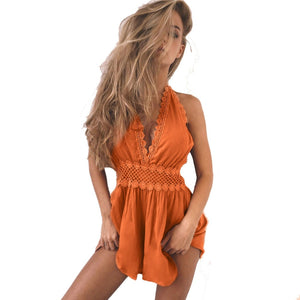 Free Ostrich Backless  Playsuits