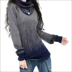 Turtleneck Vintage Gradient Knitted Sweater