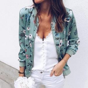 Retro Floral Zipper Up Basic Jacket