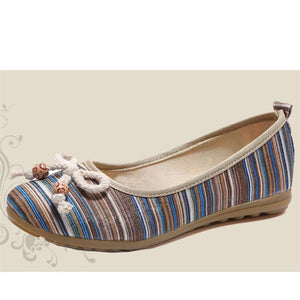 Ballet Flats Striped  Bow Sweet Casual Shoes
