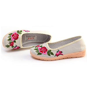 linen breathable slope with non-slip soft bottom mother shoes