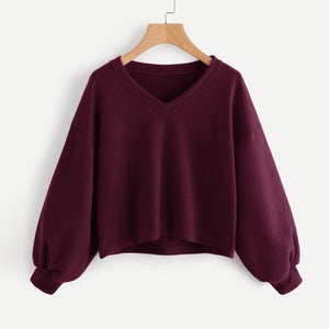 Crop Tops Sweatshirts Drop Shoulder Lantern Sleeve Sweatshirt Pullover