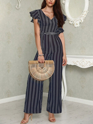 Sleeveless V Neck Striped Casual Jumpsuit Wide Leg