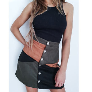 Button High Waist Skirt