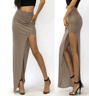 Open Side Split Skirt high waist High Slit Long Maxi Skirts