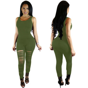 Sleeveless Slim Sports Hole Casual long Jumpsuit