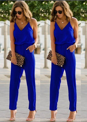 Casual Solid spaghetti strap Jumpsuit Club Long Pants