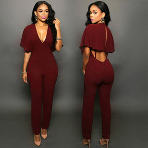 Club wear V-neck  Party  Slim  Fit Solid Jumpsuits