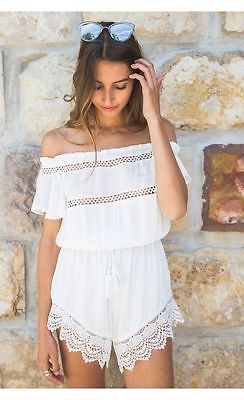 Summer Shorts Beach Off shoulder Lace Playpsuit