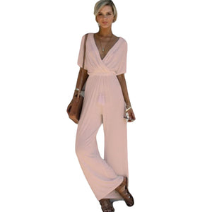 High Street Casual  Jumpsuit  V Neck