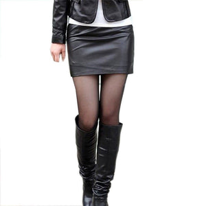 PU Leather  High Waist Smooth Causal Pencil Mini Skirt
