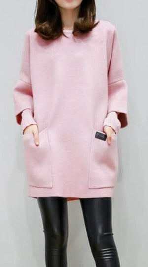 Long Sleeve Hoodies Loose Pockets Outerwear Wool Coat