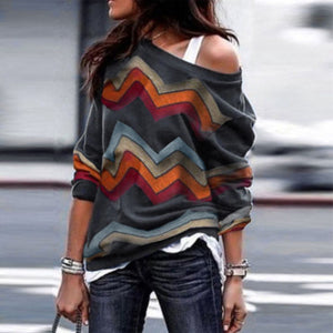 Long Sleeve Striped  Loose  One Shoulder Sweaters