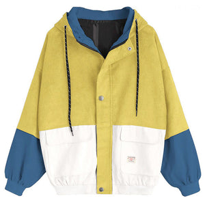 Long Sleeve soft Corduroy Patchwork Oversize Jacket Wind breaker