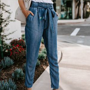 Jeans bandage solid pocket Polyester Trousers High Waist Slim