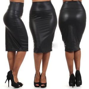 PU Leather High Waist Knee-Length Solid Pencil Skirt