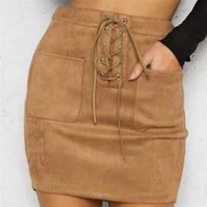 Bandage Leather High Waist  Mini Skirt
