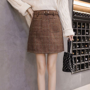 High Waist Slim Mini Wool Plaid Skirt