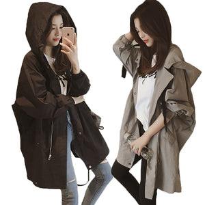 Medium and long windbreaker coat