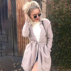 Casual Wild Loose Trench Coat  With Sashes Loose Windbreaker