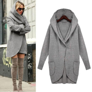 Long Sleeve Hooded Overcoat Cotton Blend Cardigans