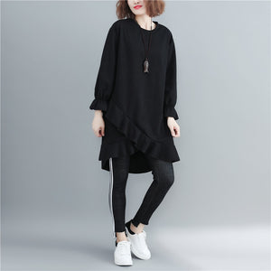 Long Sleeve Round Collar Ruffles Patchwork Pullovers