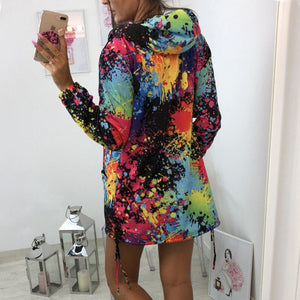 Ladies Zipper Tops Colorful Graffiti Coat