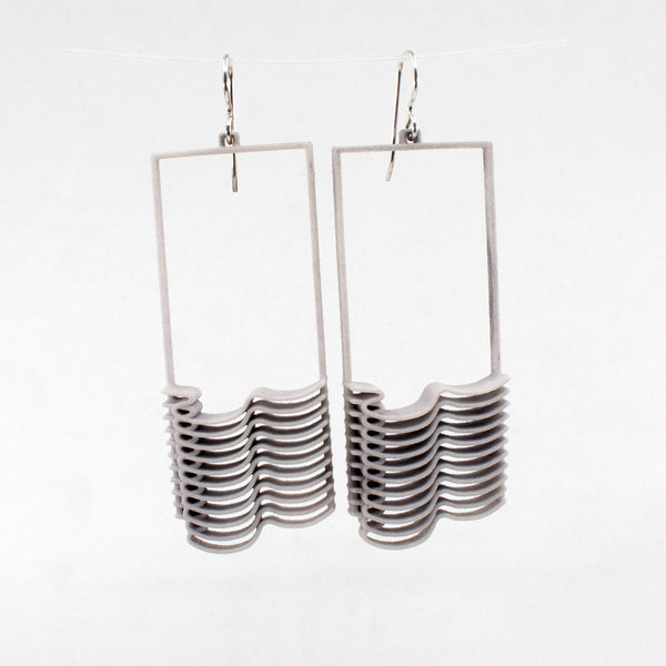 Light Gray Plastic Waves Earrings