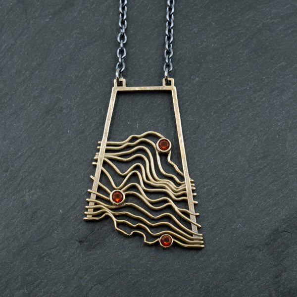 Brass Topographic Pendant with Mexican Fire Opal