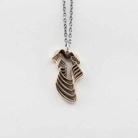 Brass Water Waves Curvy Pendant