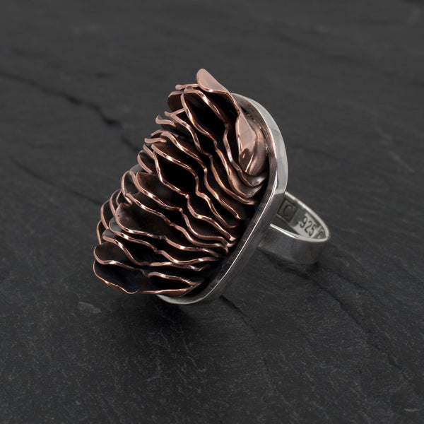 Sterling and Stacked Copper Hoodoo Statement Ring
