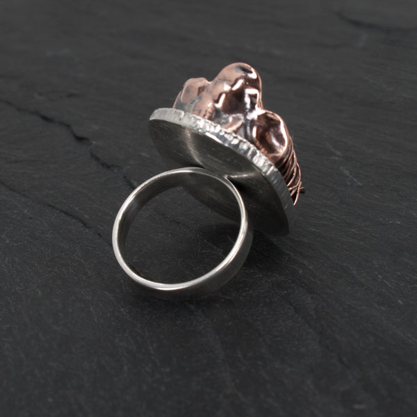 Sterling and Stacked Copper Ring back view on slate background