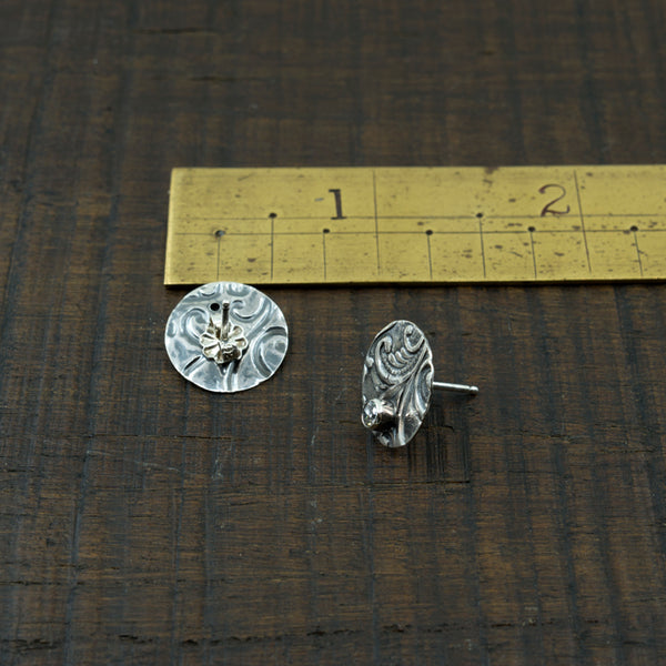 Embossed Sterling and CZ Studs with an Abstracted Flora and Scrolling Design