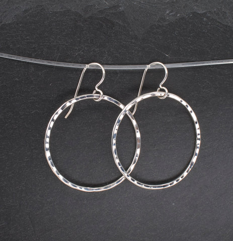 Textured Sterling Hoop Dangle Earrings