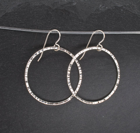 Textured Sterling Circle Drop Earrings