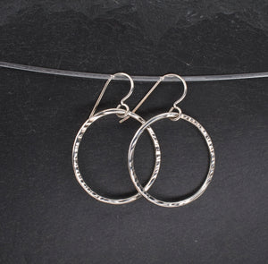 Hammered Sterling Dangle Hoop Earrings