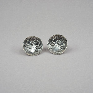 Embossed Sterling Studs with an Abstracted Flora and Scrolling Design