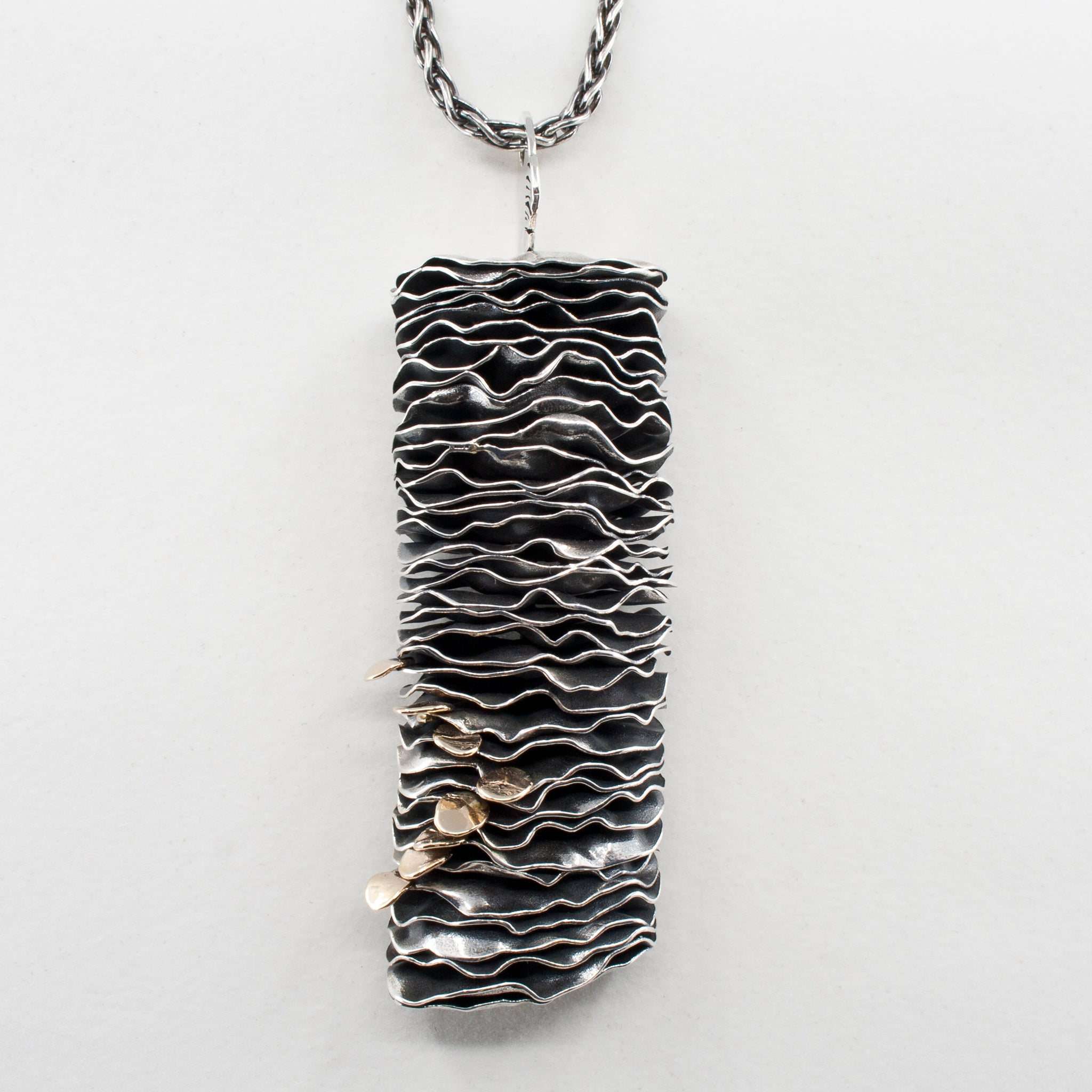 Sterling and Gold Sea Stack Stacked Pendant